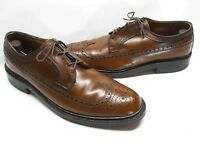 Vintage USA Made American Gentleman Brown Leather Wingtip Oxford Shoes size 10.5