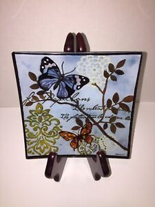 """Square GLASS DISH 6"""" by Prima Donna Butterflies J BRINLEY Decorative Tray Plate"""