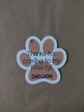 12 Personalized paw print birthday party favor tags. Any colors! Puppy dog.