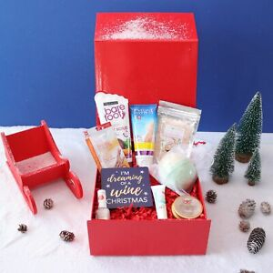 Manicure and Pedicure Christmas Pamper Hamper Bath and Body Gift Box for Her