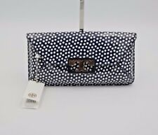 NWT Tory Burch Gigi Blue White Polka Dot Patent Leather Clutch Bag New