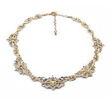 """Collier """"GLAMOUR"""" Doré & Cristaux blanc (tour de cou plastron vintage necklace)"""