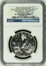 2013 CANADA MAPLE LEAF HIGH RELIEF PIEDFORT FR 1 oz Silver $5 Coin NGC PF70 UC