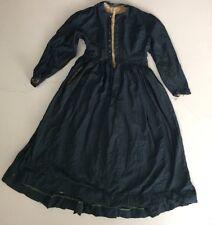 Antique Edwardian Victorian Black Wool Dress