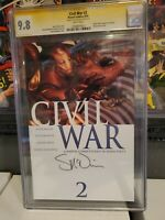 Civil War #2  CGC SS 9.8  McNiven signature, Mike Turner Cover KEY ISSUE