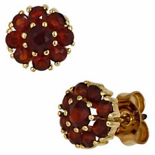 Ear Studs Jewelry Flower Flowers from Garnet Red 375 Yellow Gold Ladies