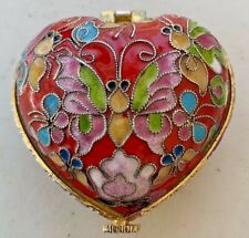 Beautiful Vtg Red Cloisonné Heart Vanity Trinket Box Enamel Flowers Butterfly