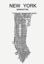New York Manhattan City Map Wall Art