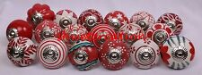 5 Red Mixed Hand Painted Ceramic Door Knobs Kitchen Cabinet Drawer Puller Pulls