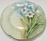Limoges France JPL Beautiful Daffodils Jean Pouyat Antique Plate Marked 1905