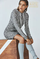 BNWT FABLETICS Yukon Sweater Dress S 10 Grey Black White Hooded Boucle