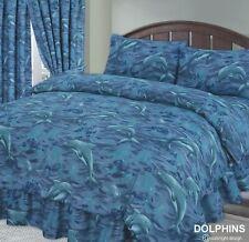 KING SIZE DUVET COVER SET BLUE MARINE DOLPHINS EASYCARE POLYCOTTON FABRIC