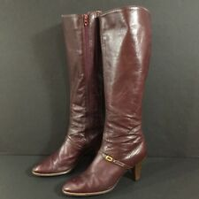 Vintage Cobbies Burgundy Leather Knee High Dress Boots Inside Zip Gold Buckle 7N