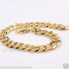 Vogue Mens 24K Yellow Gold Filled Cuban Chain Curb Bracelet Jewelry 8.46 Inch