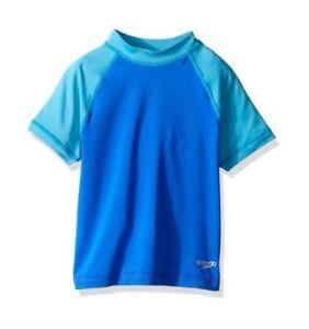 Speedo Girls Small Radiant Blue Short Sleeve Colorblock Swim Shirt Rash Guard