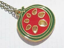 tone small pendant necklace Pomegranate Fruit red and gold