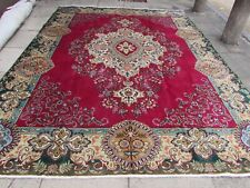 Vintage Worn Hand Made Traditional Oriental Wool Red Blue Large Carpet 364x278cm