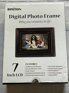 "Bpidion 7"" TFT LCD Faux Wood Finish Digital Photo Frame SDP-704C 480x234"