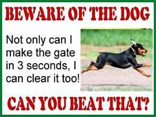 VINTAGE STYLE RETRO METAL PLAQUE ; Beware of the Dog ( Doberman ) Ad/Sign