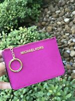 NWT Michael Kors Coin Pouch ID Wallet with Key Chain Holder Fuschia
