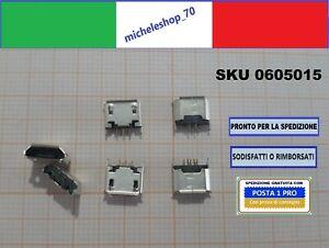 """connettore a saldare micro USB tipo """"B"""" femmina 2 fissaggi posteriori 5pin 180°"""