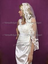 BRIDAL MANTILLA  SPANISH VEIL WITH BEADED LACE EDGE DESIGN IVORY CATHOLIC STYLE