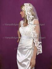 BRIDAL MANTILLA  SPANISH VEIL WITH BEADED LACE  FOR CATHOLIC WEDDING CHAMPAGNE