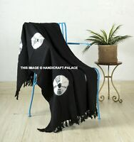 Indian Mud cloth Bed Sofa Throw Tie Dye Black Print Cosy Fringed Blanket Bedding