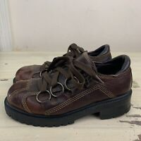 GBX - Vtg 90s Brown Leather Clunky Thick Sole Grunge Boots Shoes, Womens 8