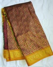 Bridal Gold Copper Red Sari Indian Saree Bollywood Fabric Panel Drape