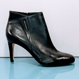 VINCE CAMUTO Womens 9.5 - 10 Sleek Black Leather Ankle Booties Heels Pumps Shoes
