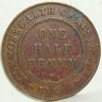 1936 AUSTRALIA  ONE 1/2 HALF PENNY GEORGE V WORLD COIN NICE!