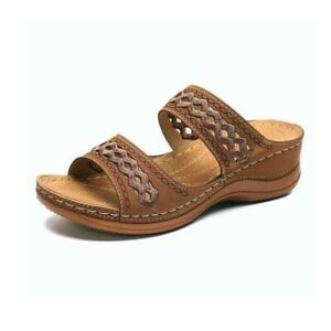 Womens Wedge Heel Sandal Ladies Soft-Soled Summer Slipper Platform Shoes Size UK