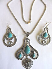 Sterling Silver 925 Turquoise Pendant Necklace & Earrings Set with Gemstone