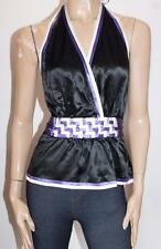 bebe Designer Black Purple Silk Belted Deep Cut Halter Top Size M BNWT #SM71