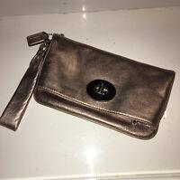 Coach Metallic Rose Gold Clutch Purse - with Wristlet Strap Wallet
