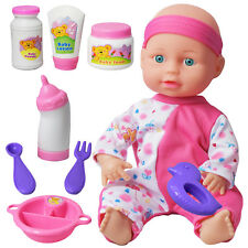 "10"" Pink Baby Doll Play Set with Feeding Accessories Milk Bottle Girls Toy"