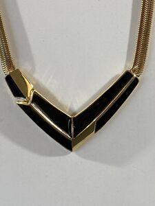Vintage Trafari Gold Tone Black Enamel Necklace