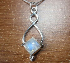 Blue Moonstone Square 925 Sterling Silver Pendant