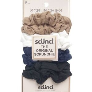 Scunci New in Package 8 Piece Set of Ribbed Scrunchies in Tan White and Black
