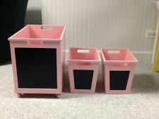 Pink Wooden Chalkboard Label Storage Bins - Set of 3