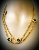 "Stunning vintage signed Talbots nautical anchor gold tone necklace 36""long"