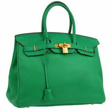 acf31861d376 Auth HERMES BIRKIN 35 Hand Bag Green Traurillon Clemence France Vintage  JT07136
