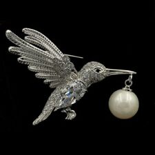 Vintage Micro Pave CZ Imitated Pearl Drop Flying Profile Bird Brooch Silver Tone