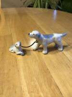 VINTAGE PORCELAIN White English Pointer Dog & Puppy Chained, Hunting, Blue Spots