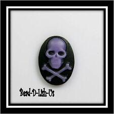 10pcs (10) Skull CrossBones 18x13mm Resin Cameo gothic emo punk Cabochon
