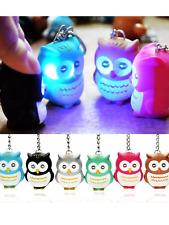cute owl Keyring LED lights sound hooting keychain handbags pendant blue