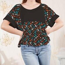 Paisley Women Loose-fitting Splicing Top Shirt Blouse b122 acr03913