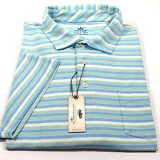 Peter Millar Men's Polo Striped S/S Golf Shirt Mint Green & Light Blue Size XL