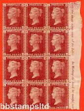 """SG. 43/44. G1. """" KJ - NL """" 1d red. Plate 141.  (10 stamps UNMOUNTED)"""